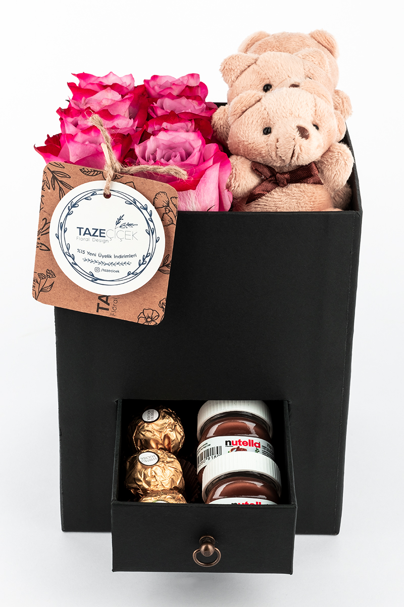 Black Happiness Box with Deep Purple Roses