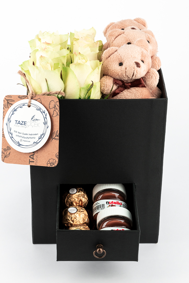 Black Happiness Box with White Roses