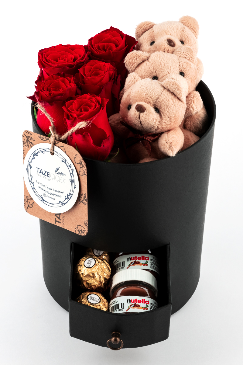 Black Circle Box with Red Roses